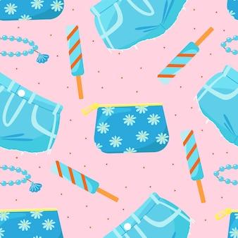 Padrão sem emenda com shorts jeans de bolsa cosmética e ilustração vetorial de sorvete