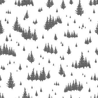 Padrão sem emenda com silhuetas de árvores coníferas