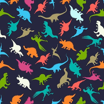 Padrão sem emenda com silhuetas de dinossauros