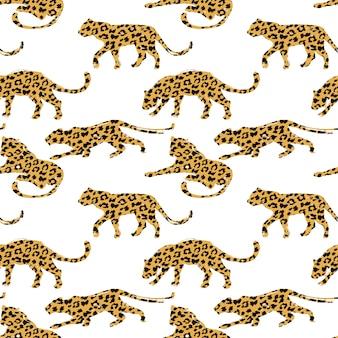 Padrão sem emenda com silhuetas de leopardo.