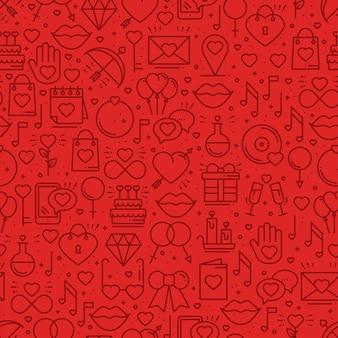 Padrão sem emenda com símbolos de amor.