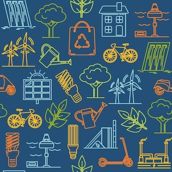 Padrão sem emenda com símbolos de ecologia