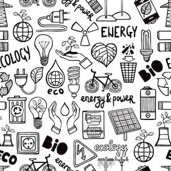 Padrão sem emenda com símbolos de energia