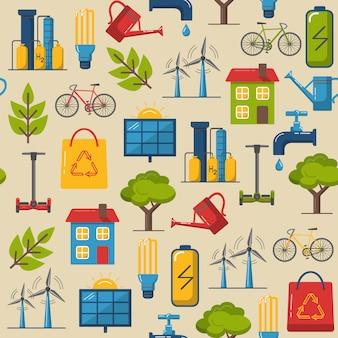 Padrão sem emenda com símbolos ecológicos