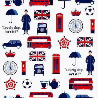 Padrão sem emenda com símbolos ingleses