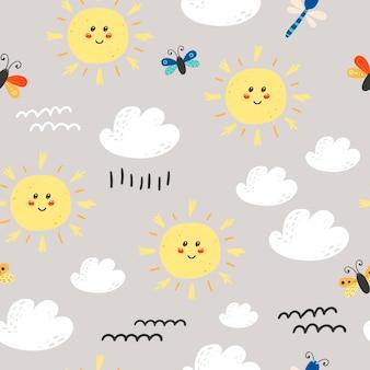 Padrão sem emenda com sol bonito, nuvens.