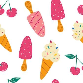 Padrão sem emenda com sorvete. padrão de verão, sobremesas doces, cereja. para tecidos, papéis de parede, gabaritos ornamentais de design e decoração. fundo de desenho vetorial.