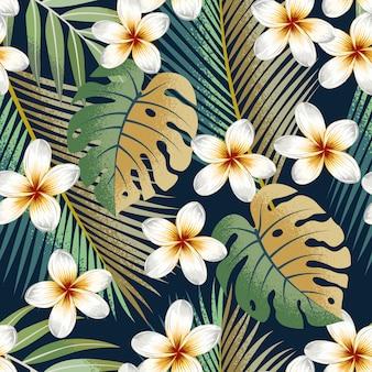Padrão sem emenda com strelitzia tropical de flores e folhas de fundo exótico.