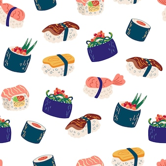 Padrão sem emenda com sushi e rolos. ilustração de frutos do mar, filadélfia, maki e nigiri, comida japonesa yummi com salmão e camarão. fundo de vetor para sushi bar, café e delivery