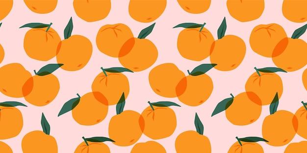 Padrão sem emenda com tangerinas. texturas desenhadas à mão na moda.