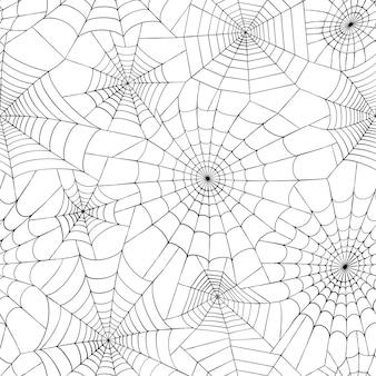 Padrão sem emenda com teia de aranha. decoração de halloween com teia de aranha. vetor plano de teia de aranha