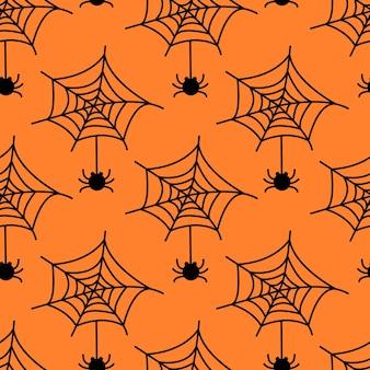 Padrão sem emenda com teia de aranha e aranha isolada em fundo laranja. ilustração em vetor plana.
