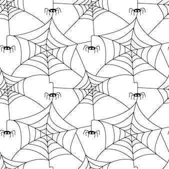 Padrão sem emenda com teia de aranha e aranha isolada no fundo branco. ilustração em vetor plana.