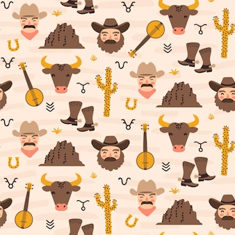 Padrão sem emenda com tema de rancho da américa ocidental