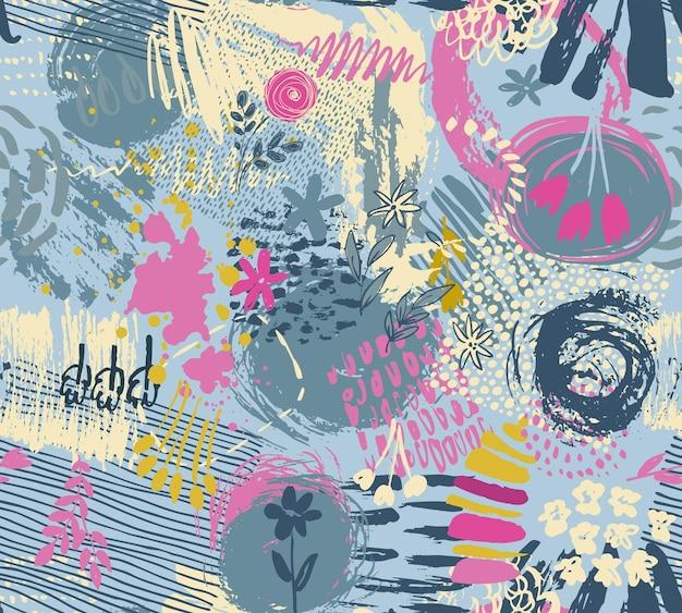 Padrão sem emenda com textura de tinta abstrata de mão desenhada e motivo de natureza floral.