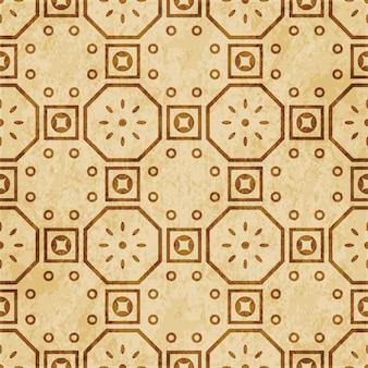 Padrão sem emenda com textura marrom retrô, flor de moldura quadrada redonda de polígono