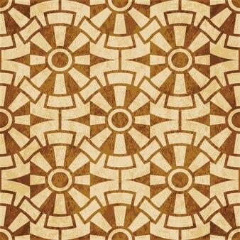 Padrão sem emenda com textura marrom retrô, flor redonda de geometria cruzada de engrenagem