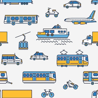 Padrão sem emenda com transporte de diferentes tipos em fundo branco.