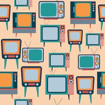 Padrão sem emenda com tv retrô, formato vetorial