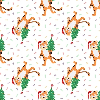 Padrão sem emenda com um filhote de tigre listrado laranja em um chapéu de papai noel vermelho com uma árvore de natal d ...