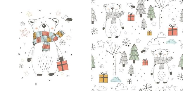 Padrão sem emenda com um lindo urso de pelúcia com um presente na floresta. desenhos animados desenhados à mão