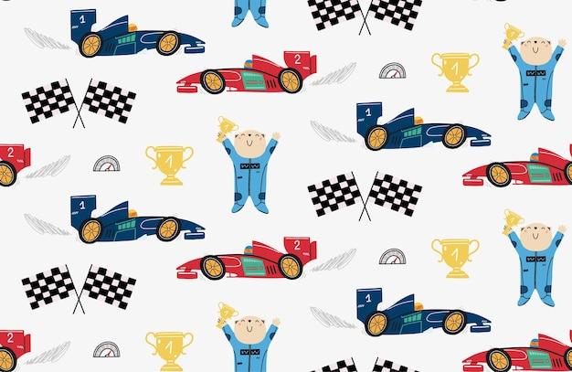 Padrão sem emenda com um piloto de urso fofo e carros de corrida