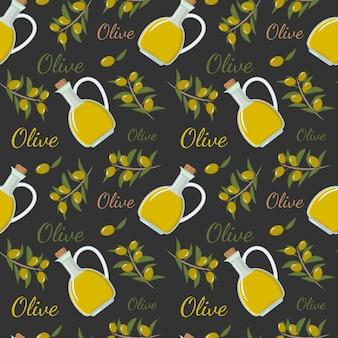 Padrão sem emenda com uma garrafa de azeite de oliva, um galho e azeitonas para papel de parede de decoração