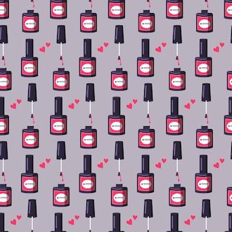 Padrão sem emenda com uma garrafa de esmalte rosa bonito impressão brilhante para manicure ou salão de beleza