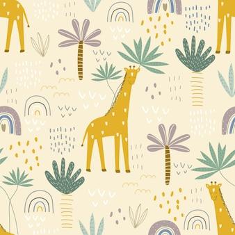 Padrão sem emenda com uma girafa fofa em um fundo colorido. ilustração vetorial