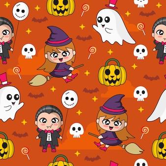 Padrão sem emenda com uma ilustração fofa de drácula e bruxa padrão sem emenda de halloween