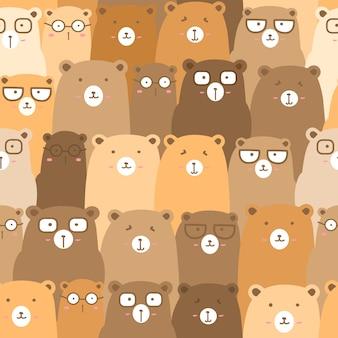 Padrão sem emenda com urso bonito fundo, urso bonito doodle arte para crianças
