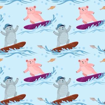 Padrão sem emenda com urso fofo surfando nas ondas.