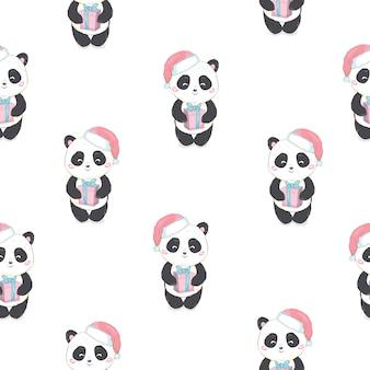 Padrão sem emenda com urso panda com chapéu de papai noel