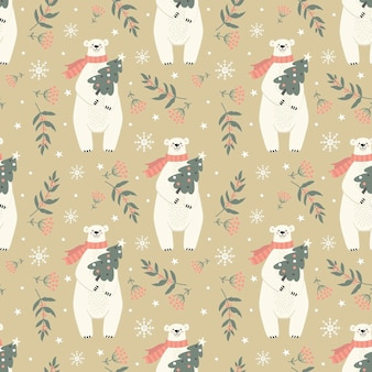 Padrão sem emenda com urso polar e decoração de inverno para feriados de ano novo em vetor de fundo bege