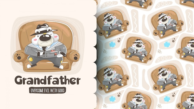 Padrão sem emenda com ursos bonitos dos desenhos animados: panda, urso pardo e urso polar segurando corações. de fundo vector