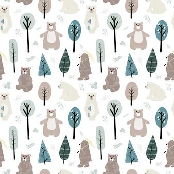 Padrão sem emenda com ursos fofos e elementos diferentes. ilustração em estilo escandinavo.