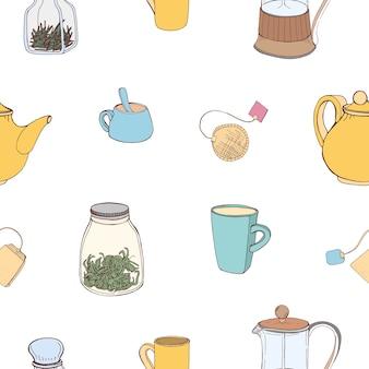 Padrão sem emenda com utensílios de cozinha coloridos desenhados à mão e ingredientes para fazer e beber chá
