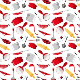 Padrão sem emenda com utensílios em estilo cartoon. utensílios de cozinha brilhantes. conjunto de panelas vermelhas isoladas no fundo branco. ilustração vetorial. eps 10