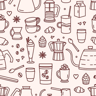 Padrão sem emenda com utensílios para fazer café e sobremesas doces desenhadas com linhas de contorno sobre fundo claro. ilustração em estilo linear para papel de embrulho, impressão têxtil, papel de parede.