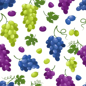 Padrão sem emenda com uvas de desenho animado isoladas em branco. bagas de suco brilhante.