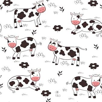 Padrão sem emenda com vacas em um fundo branco.
