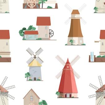 Padrão sem emenda com vários moinhos de vento em fundo branco