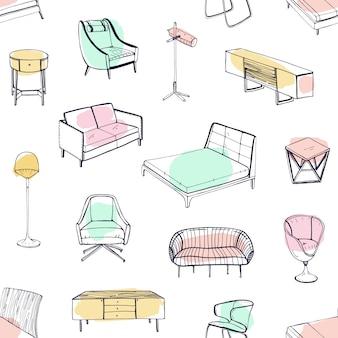 Padrão sem emenda com vários móveis aconchegantes desenhados com linhas de contorno e manchas coloridas em fundo branco. pano de fundo com sofá, poltrona, cadeira, cama, mesa de cabeceira. ilustração para papel de parede.