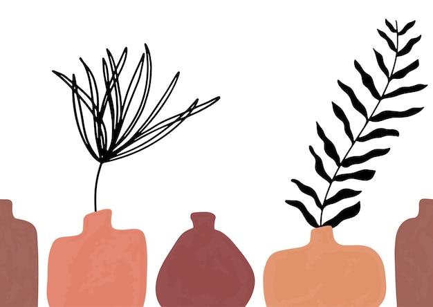 Padrão sem emenda com vasos de terracota desenhados à mão abstrata em tons pastel e ramo em backgroud bege.