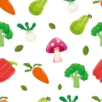 Padrão sem emenda com vegetais, cenoura, cogumelo, balão, orion, páprica e brócolis. fundo vegetal.