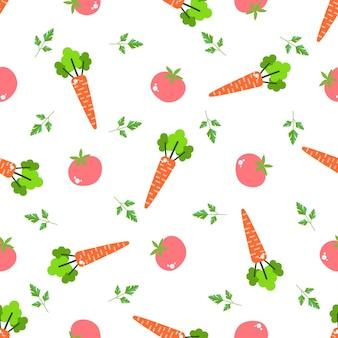 Padrão sem emenda com vegetais e frutas design brilhante em estilo simples com vitaminas e minerais