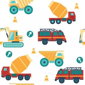 Padrão sem emenda com veículos, caminhões de construção, sinais de trânsito.
