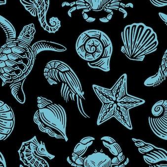 Padrão sem emenda com vida marinha azul em design vintage.