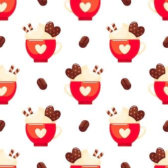 Padrão sem emenda com xícara de café vermelha e biscoito fundo colorido de vetor