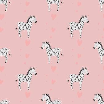 Padrão sem emenda com zebras fofas e corações em um fundo rosa para embrulho de têxteis de bebê